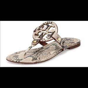Tory Burch Miller Sandals - Snakeskin & Gold